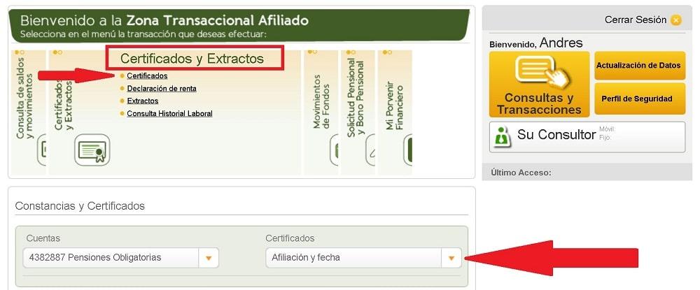 certificado afiliacion porvenir