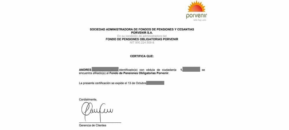 certificado de afiliacion porvenir