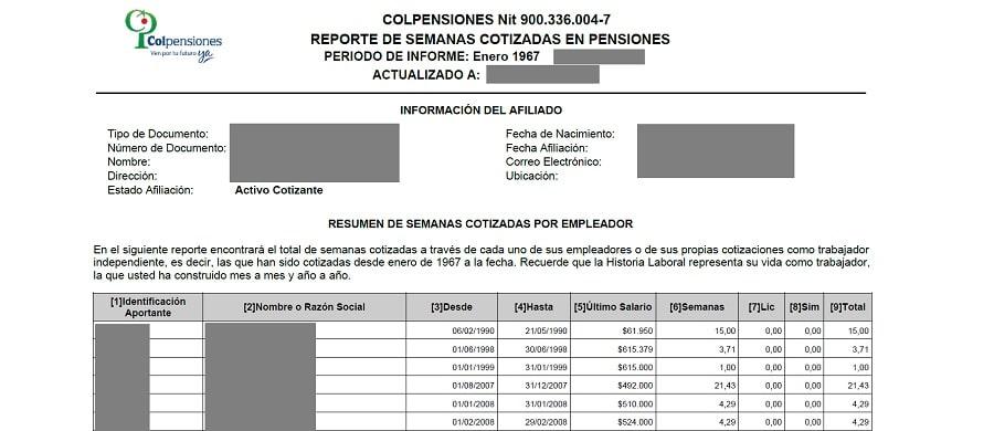certificado de pensiones colpensiones
