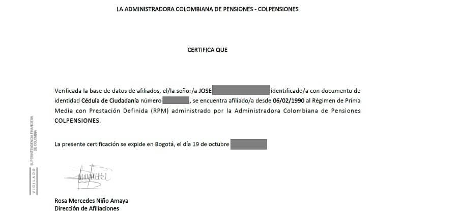 colpénsiones certificado