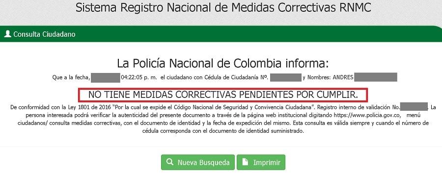 consulta medidas policia nacional